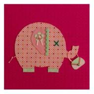 Moepa Stoffbild pink mit Elefant in rosa 20cm