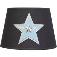Moepa Tischlampenschirm grau mit Stern in hellblau Ø20cm