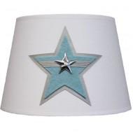 Moepa Tischlampenschirm weiß mit Stern in hellblau Ø20cm