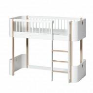 Oliver Furniture Wood Collection Mini+ halbhohes Bett 70x160cm in weiß/Eiche