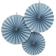 Ginger Ray Pinwheel Fan 3-er Pack blau