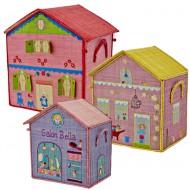 Rice Spielzeugkörbe als Haus in pink-rosa-blau in 3 Größen