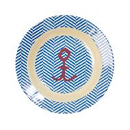 Rice Melamin tiefer Kinderteller in blau gestreift mit rotem Anker