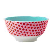 Rice großes Melaminschälchen 2-farbig in rosa-rot mit Sternen