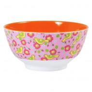 Rice großes Melaminschälchen 2-farbig in orange-pink mit Vögelchen