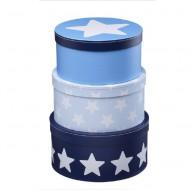 Kids Concept  Set Pappboxen rund hellblau mit Sternen