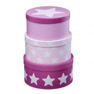 Kids Concept Set Pappboxen rund rosa mit Sternen