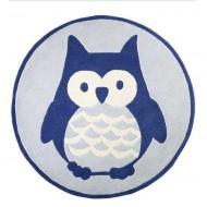 Kids Concept Teppich aus 100% Wolle in blau mit Eule