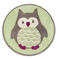 Kids Concept Teppich aus 100% Wolle in grün mit Eule