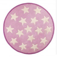 Kids Concept Teppich aus 100% Wolle in rosa mit kleinen Sternen