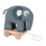Sebra Häkel-Elefant auf Rädern in wolkenblau zum Nachziehen