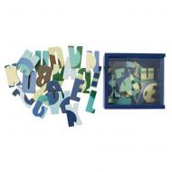 Holzmagnete Buchstaben in blauer Holzbox von Sebra