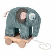 Sebra Häkel-Elefant auf Rädern in pastell-blau zum Nachziehen