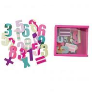 Holzmagnete Zahlen in pinker Holzbox von Sebra
