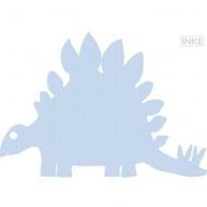Tapetendinosaurier 123 in hellblau mit weißen Punkten