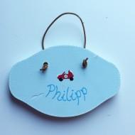 Handbemaltes Türschild hellblau, PHILIPP - mit Macke