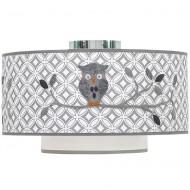 Taftan Deckenlampe grau gemustert mit Eule