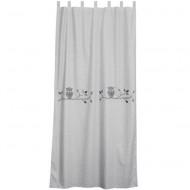 Vorhangschal grau-weiß mit grauer Eule von Taftan