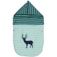 Taftan Fußsack blau-grün mit Hirsch