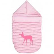 Taftan Fußsack rosa mit Reh