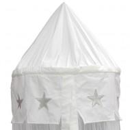 Taftan Betthimmel für Babybett weiß mit silbernen Sternen