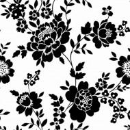 Tapete Blumen schwarz