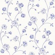 Tapete Blumenranke blau