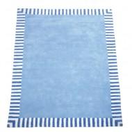 RETOURE Teppich Hellblau mit Steifenrand von Annette Frank in 140x200cm mit kleinem Lieferschaden