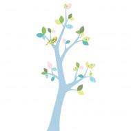 Inke Tapetenbaum 3  mit blauem Stamm und rosa-grün-blauen Blättern