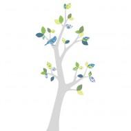 Inke Tapetenbaum 3  mit silbernem Stamm und grün-blauen Blättern