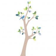 Inke Tapetenbaum 3  mit dunkelbraunem Stamm und grün-blauen Blätternn