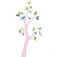 Inke Tapetenbaum 3  mit rosa Stamm und grün-blauen Blätternn