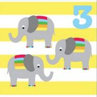 Glückwunsch-Karte Elefanten zum 3. Geburtstag