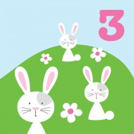 Glückwunsch-Karte Häschen zum 3. Geburtstag