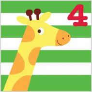 Glückwunsch-Karte Giraffe zum 4. Geburtstag