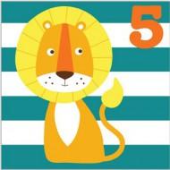 Glückwunsch-Karte Löwe zum 5. Geburtstag