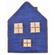 Teppich waschbar Haus in blau
