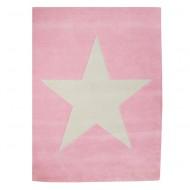 Teppich rosa aus 100% Wolle mit großem Stern 140x200cm - alte Kollektion